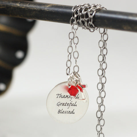 Thankful, Grateful, Blessed Sterling Pendant Necklace