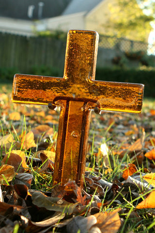Warm Amber Topaz Large Glass Cross