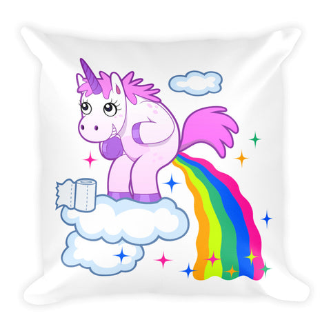 Unicorn Goes Number Two Square Pillow