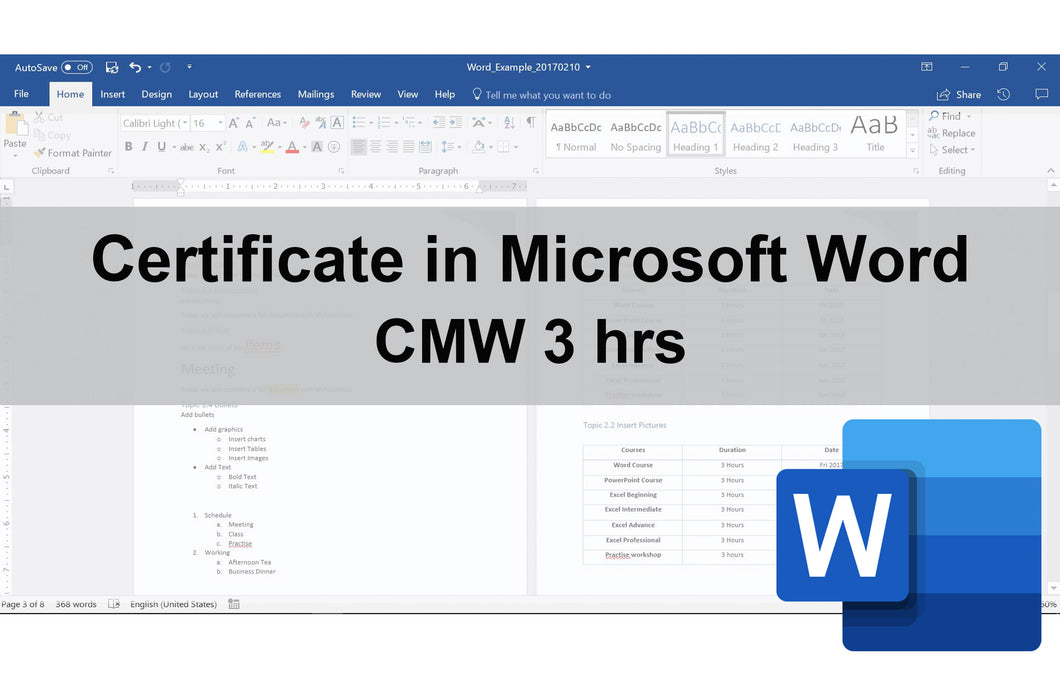 Certificate in Microsoft Word