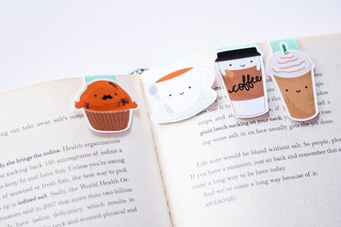 Coffee Set Magnetic Bookmark Mini 4 pack-Craft.ph