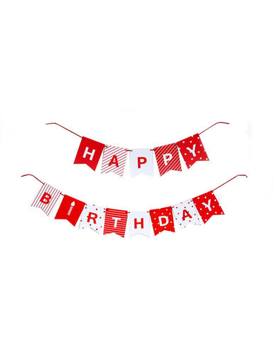 Red White Happy Birthday Bunting Decoration-Craft.ph