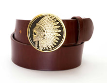 Leather Belt with Indian Skull Headdress Buckle - Gone Rogue