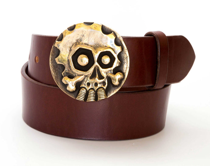 Leather Belt with Gearhead Buckle - Gone Rogue
