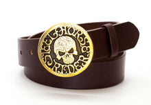 Leather Belt with Steel Horse Rider Skull Buckle - Gone Rogue