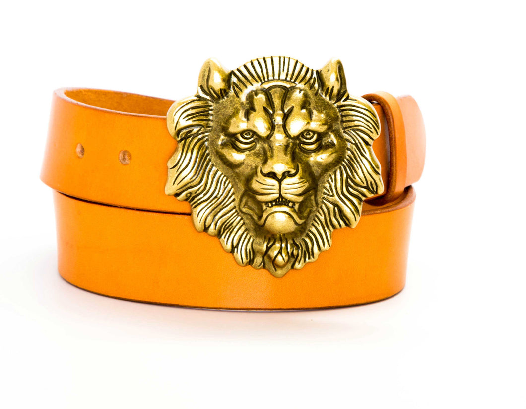 Leather Belt with Lion Head Belt Buckle - Gone Rogue