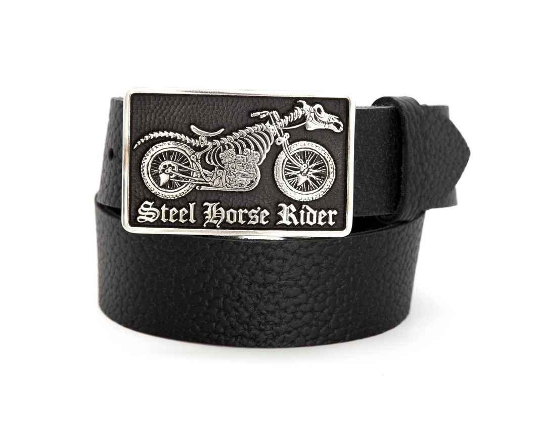 Pebbled Leather Belt with Steel Horse Rider Buckle - Gone Rogue