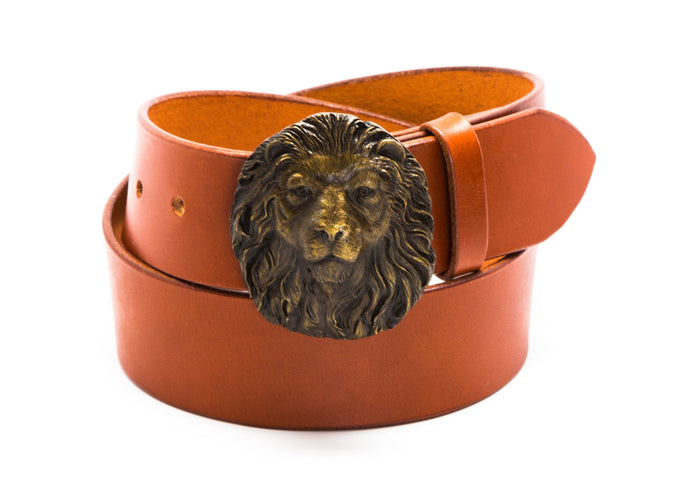 Leather Belt with Vintage Lion's Head Buckle - Gone Rogue