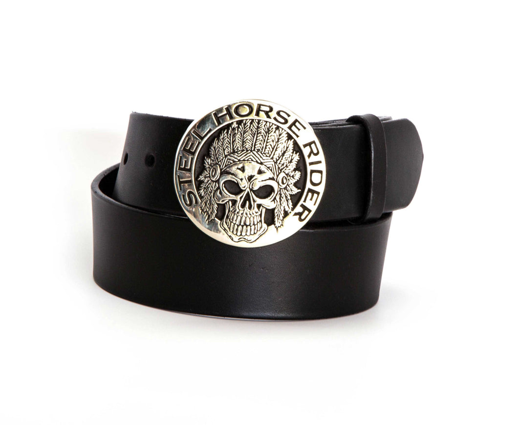 Leather Belt with Silver Indian Skull Buckle - Gone Rogue