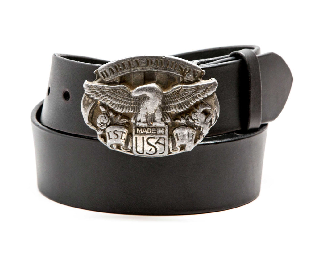 Leather Belt with Vintage Harley Buckle - Gone Rogue