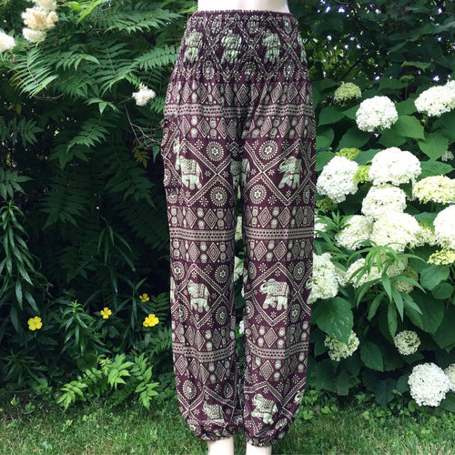 Brown Elephant Thai Harem Pants