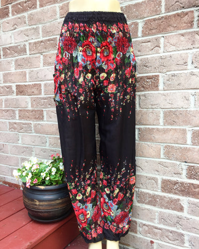 Black Secret Garden Handmade Harem Pants