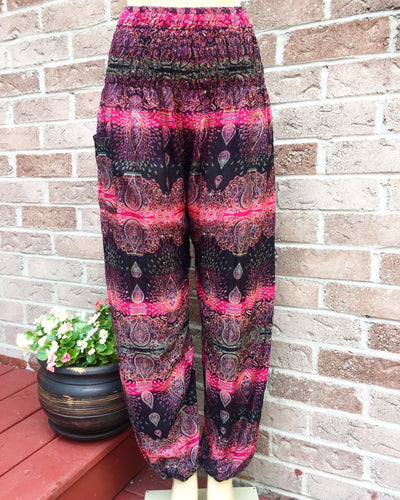 Electric Fuschia Handmade Harem Pants