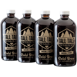 Four bottles of cold brew coffee.