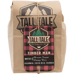 A bag of Timber Man, our dark roasted woodsy blend of Chicago Coffee.