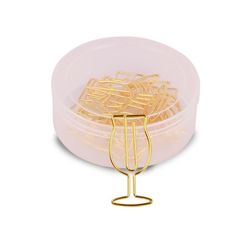 Golden Wine Glass Paper Clip