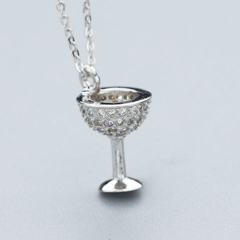 Wine Glass Necklace made of 926 Sterling Silver