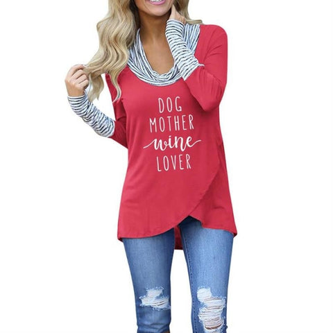 Dog Mother Wine Lover Turtleneck Top