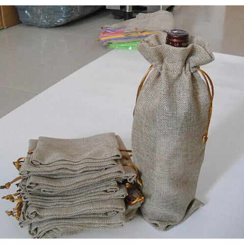 JUTE WINE BOTTLE BAGS | 20 PIECES - EnoGeeks