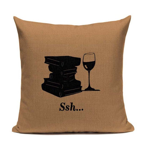 BOOK & WINE CUSHION COVERS - EnoGeeks