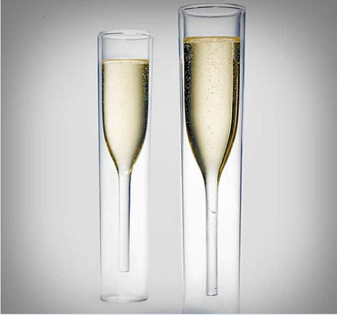 LUXURY DOUBLE LAYER CHAMPAGNE FLUTES | 2 PIECES - EnoGeeks