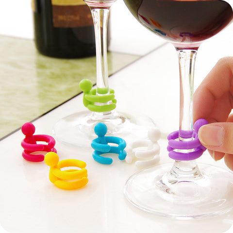 GLASS MARKER AND WINE STOPPER - 7 PIECE SET - EnoGeeks