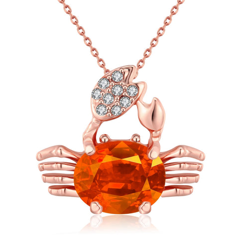 Crab Colorful Crystal Rose Gold,LKN017