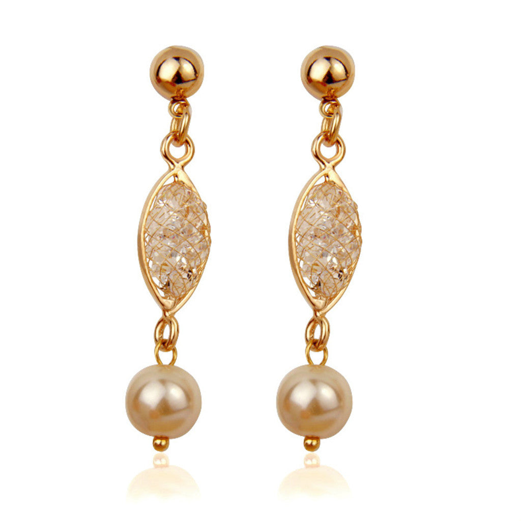 Luxury Simulated  Rose Gold Plated Zircon Crystal Pearl Drop Earrings,BME001