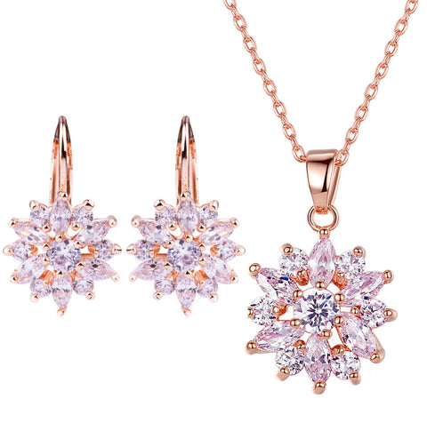 Luxury Champagne Gold Flower with Zircon Stone Necklace & Earrings Set,BME002