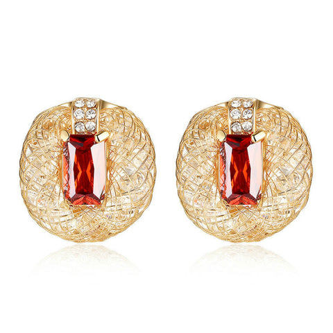 18K Real Gold Plated Round Shape Stud Earrings with Red Rhinestone Crystal, BME004
