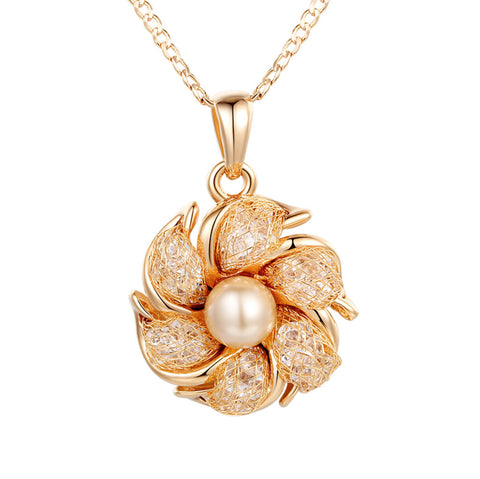 Champagne Gold Plated Necklaces Pendants Simulated Pearl AAA Cubic Zircon For Women, BME005