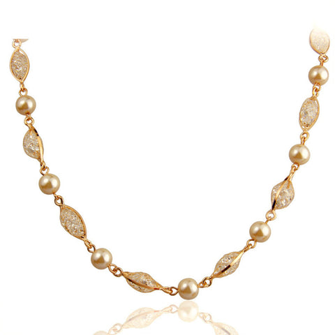 Imitation Pearl Chain Necklace For Women Engagement Rose Gold Plated Zircon Crystal,BME008