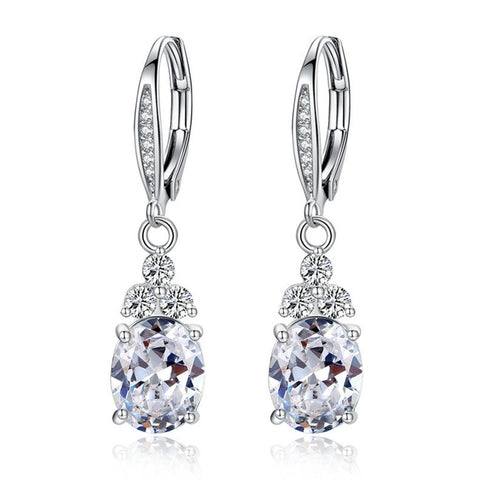 Platinum Plated White & Blue Crystal Earring, BME011