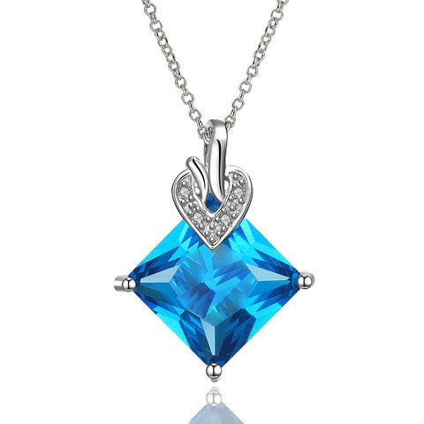 Blue gem crystal necklace, LKN011