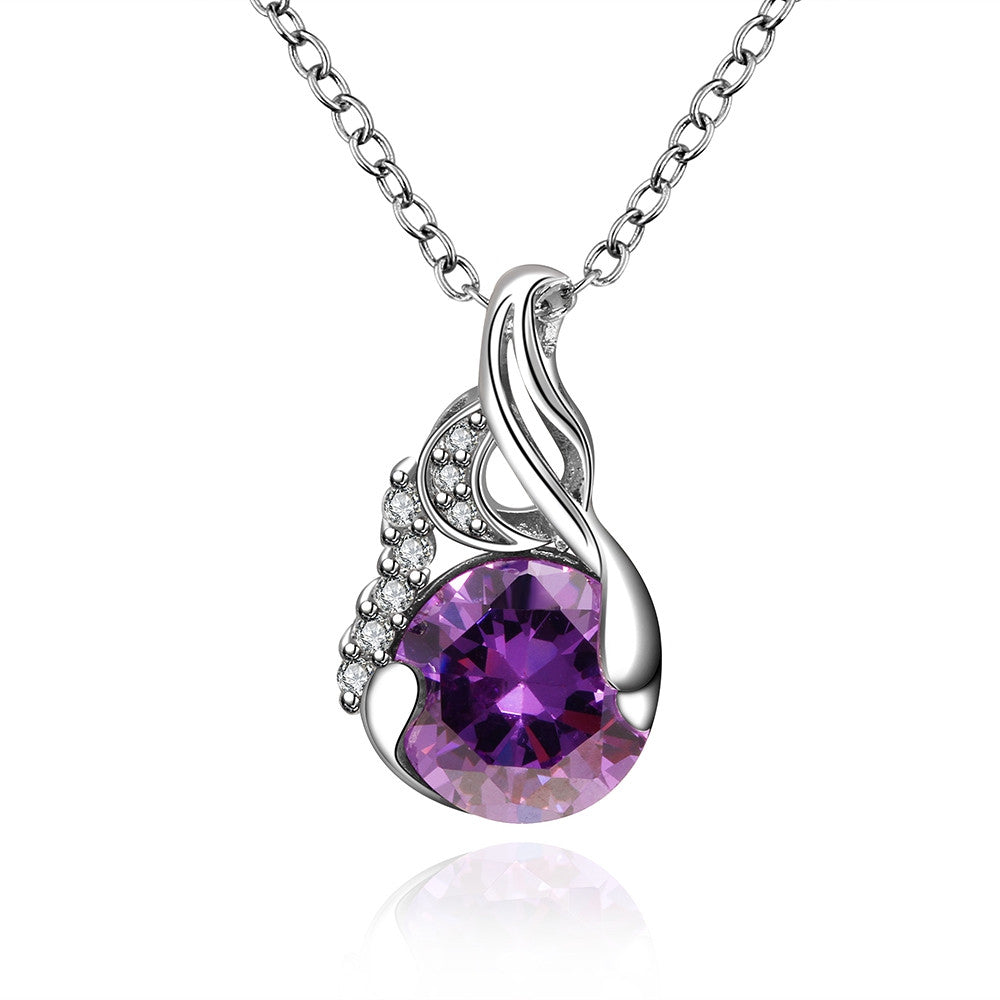 Elegant Purple Gemstone Necklace, LKN016