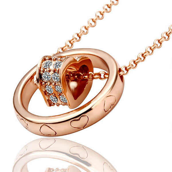 Double circle diamond heart Gold Plated Necklace. LKN001