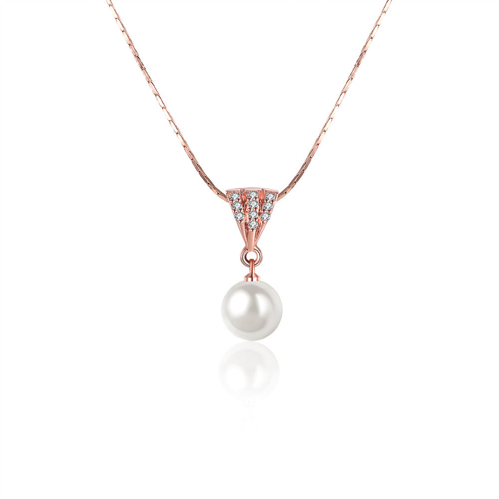 Pearl pendant crystal rose gold necklace, LKN007