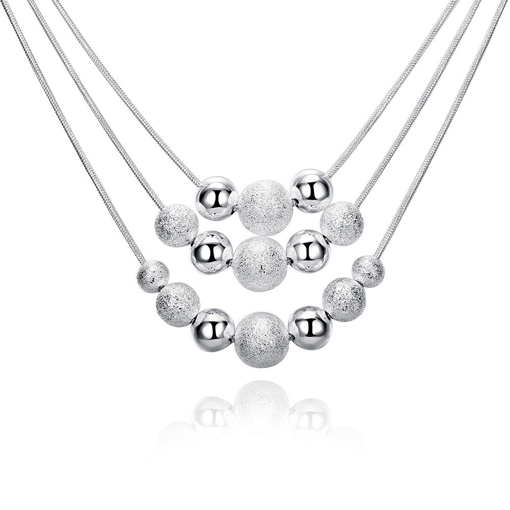 Three-line beads silver plated necklace, LKN028