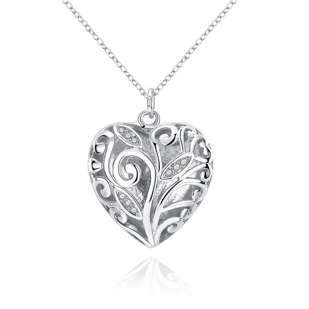 Stereo Heart Pendant Necklace silver plated, LKN002