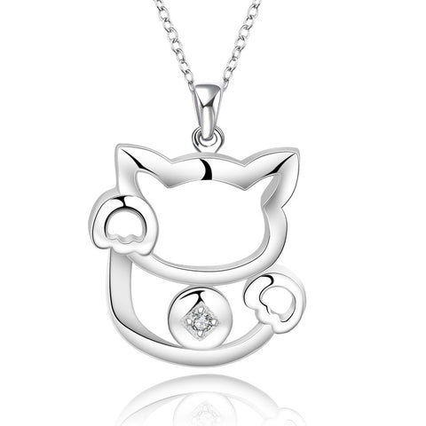 Cat Pendant Silver plated Necklace, LKN010