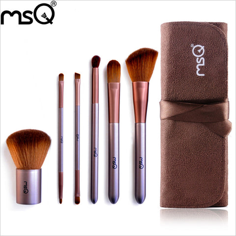 Travel Makeup Brushes Set 6pcs With Suede Beauty Case, MSQ001
