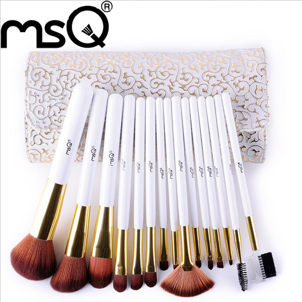 High Quality Fashion Synthetic Hair 15pcs/set Makeup Brush Set White Handle Cosmetics Pincel Maquiagem, MSQ002