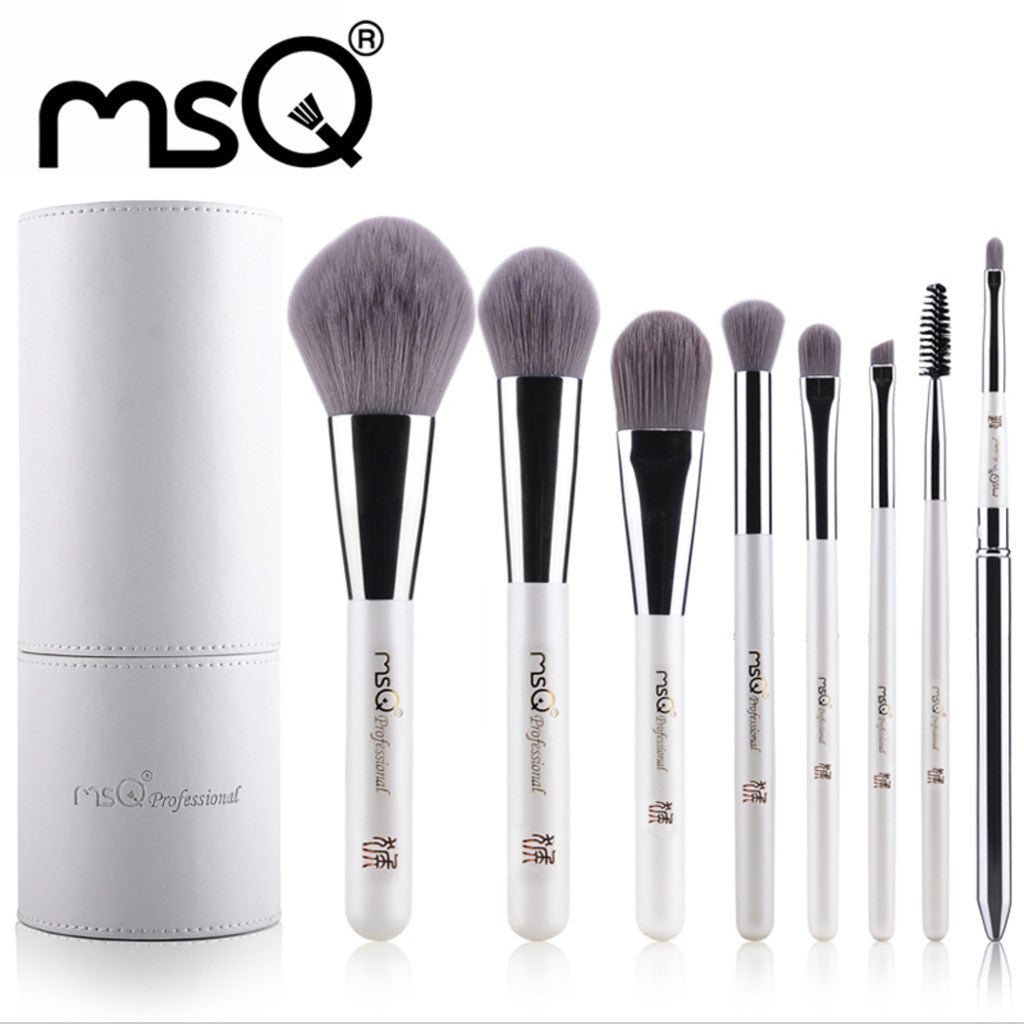 Professional 8pcs Makeup Brush Set Synthetic Hair Pearl White High Quality Cosmetic Brush Set With White Cylinder, MSQ003