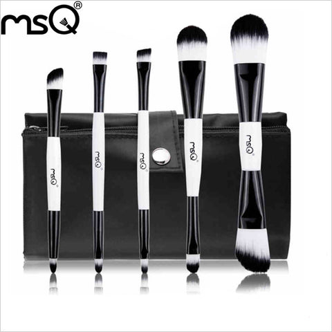 5pcs Synthetic Hair Double-End Black And White Beauty Travel Makeup Brush Set With Portable Canvas Cosmetic Case, MSQ005