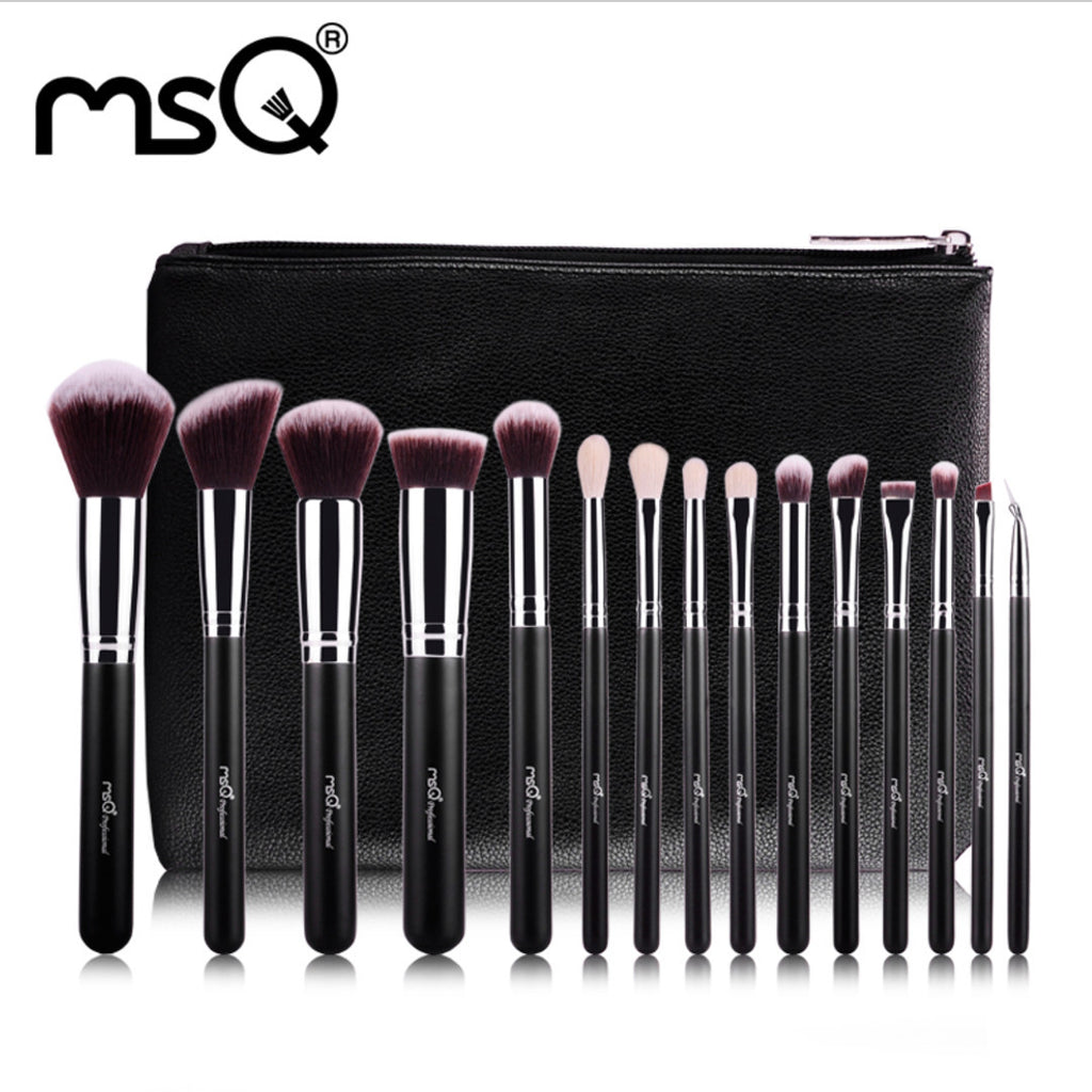 15pcs Makeup Brushes Set Professional Makeup Brushes High Quality Synthetic Hair With PU Leather Case For Beauty, MSQ008