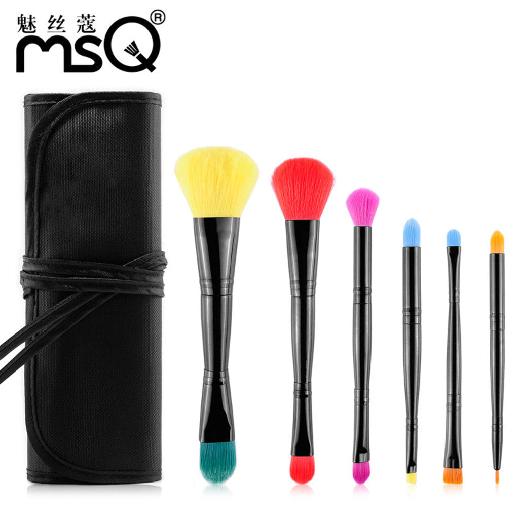 Pro 6pcs Double End Makeup Brush Set Soft Multicolor Synthetic Hair Cosmetics Pincel Maquiagem With Canvas Black Case,MSQ009