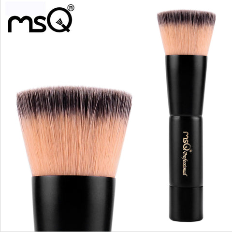 Professional Beauty Tool Single Flat Top Powder Brush, foundation brush, Double-Color Synthetic Hair Black Natural Wood Handle, MSQ011