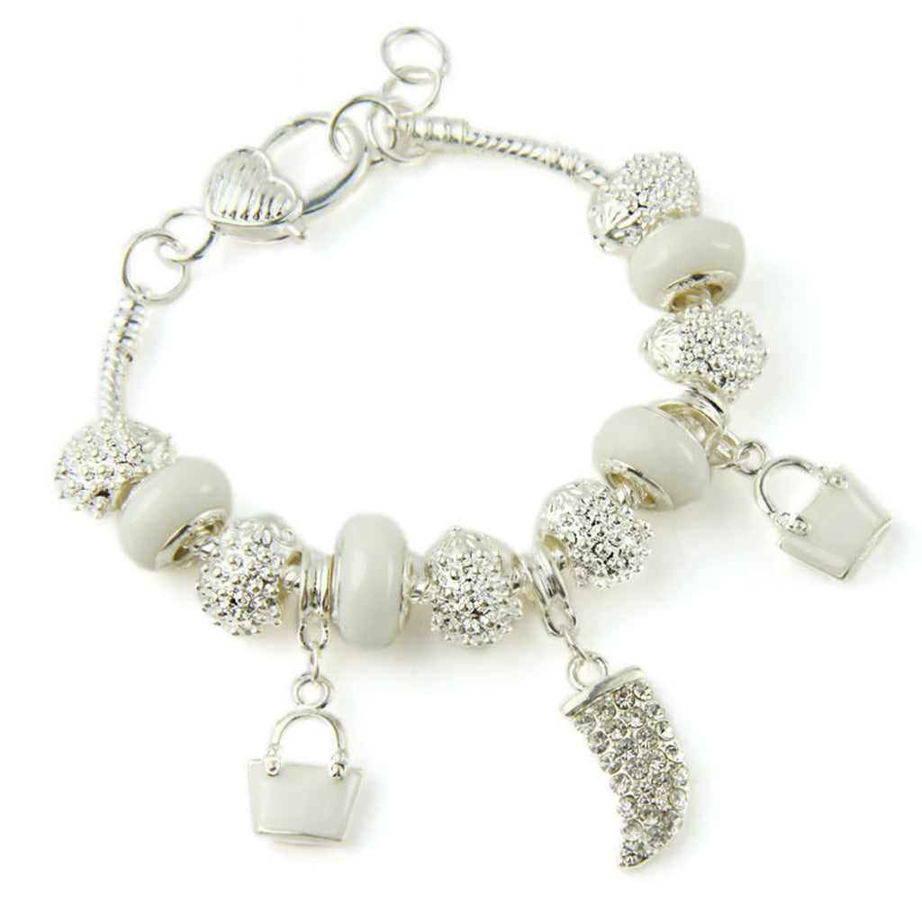 Silver Plated Crystal Charm Bracelets & Bangles With White Murano Glass Beads Handmade Jewelry, PA001
