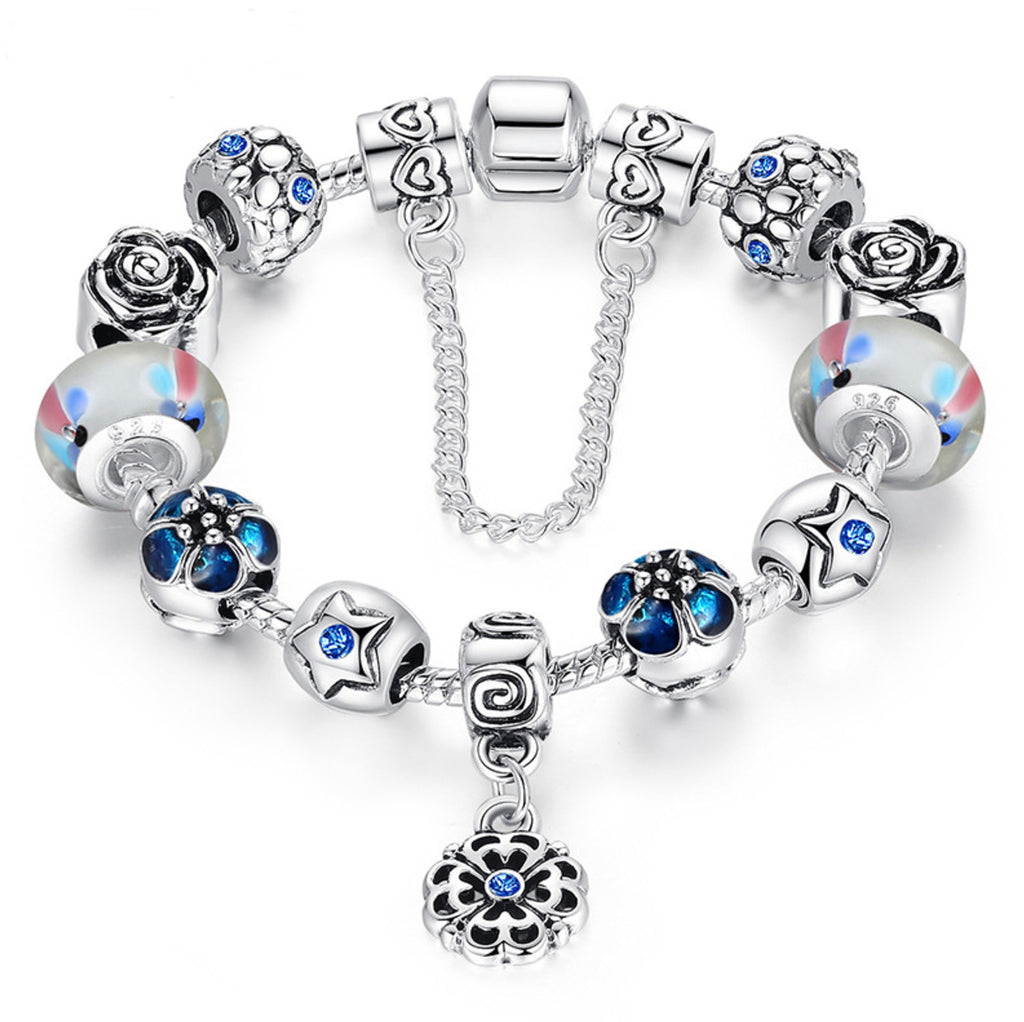 Silver Exquisite Glass Bead Bracelet With Safety Chain Luxury Strand Bracelet Jewelry,PA004