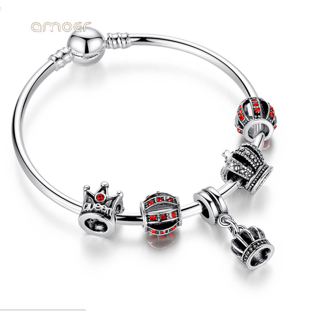Simple Silver Charm Bangle & Bracelet with Royal Crown Pendant & Red Crystal Ball,PA008